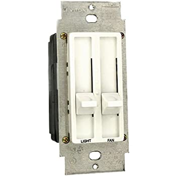 Leviton Sureslide 6630-A Quiet Slide Fan Control Dimmer Almond