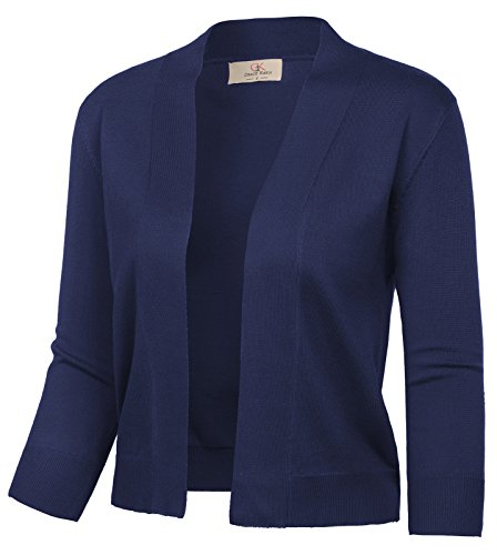 GRACE KARIN Women's 3/4 Sleeve Open Front Bolero Sweater Knit Cardigan for Wedding Dress (Navy,M)