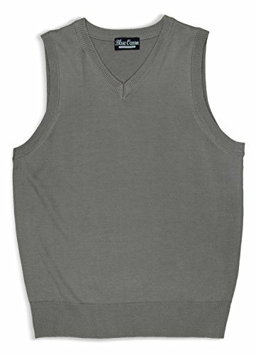 Blue Ocean Kids Solid Color Sweater Vest, Gray, 12-14/Medium -