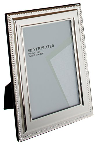 Viceni Silver Plated Bead Photo Frame, 6 by 8 Inch (Frame Coated Silver)