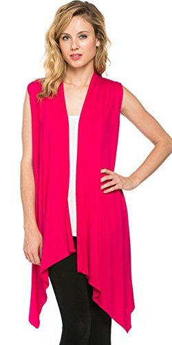 (Azules Womens Solid Color Sleeveless Asymetric Hem Open Front Cardigan (Small, Fuchsia))