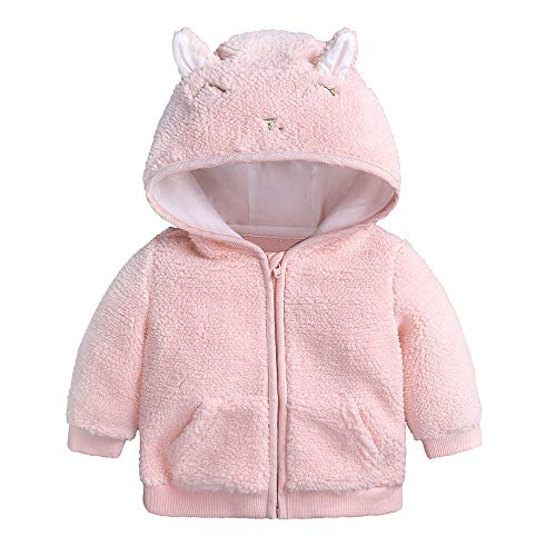 FEITONG Newborn Infant Baby Boys Girl Cartoon Ear Hooded Zipper Jacket Sweater Warm Clothes Coat(6-9M,Pink) ()