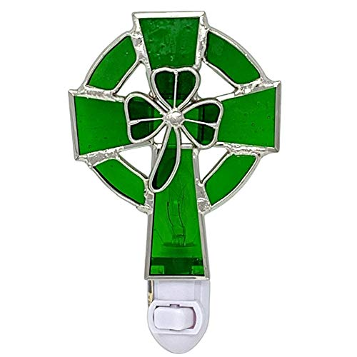 Irish Night Light Celtic Cross and Shamrock Stained Glass