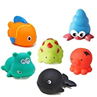 NERLMIAY Swimming Floating Bath Tub Toys set of 6 for toddlers babies childre...