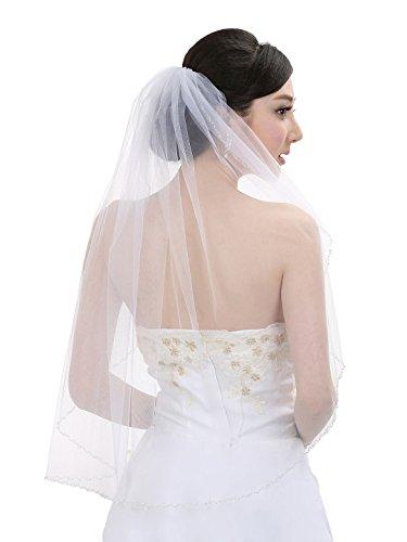 1T 1 Tier Pearls Crystals Beaded Wedding Veil V377 - Ivory Fingertip Length 36