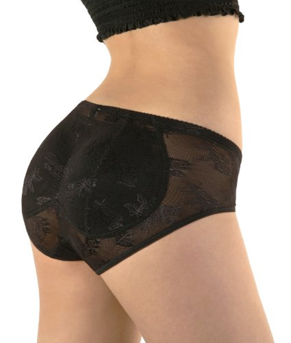 Sodacoda de encaje acolchada Body-Camiseta moldeadora efecto Push Up-Discos de espuma integrados para un efecto se remonta nalgas-Slip Amincissant para sujeción firme, color negro o Beige Negro