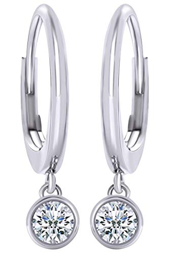 Round Cut White Natural Diamond Bezel Set Solitaire Dangle Drop Earrings In 14K Solid White Gold (0.24 Ct)