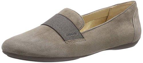 e 17 Ballet Flat, Dove Grey, 38.5 EU/8.5 M US (Geox Leather Flats)