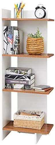 SAYGOER Modern Bookshelf Wood Bookcase 4 Tiers Storage Shelves Floating Display Shelf Plant Stand - the best modern bookcase for the money