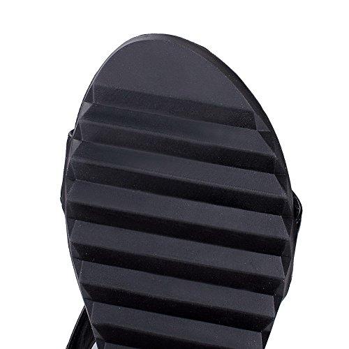 Amoonyfashion Donna Tacco Basso Sandali Aperti Punta Aperta Con Ornamento In Metallo Nero
