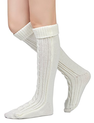 Leotruny Damen Cable Knit Kniehohe Stiefelsocken Weiß