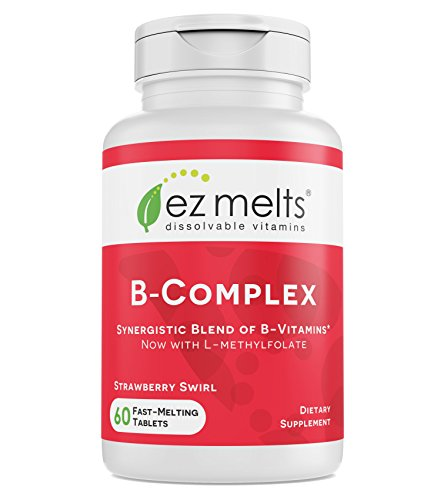 EZ Melts B-Complex with Methylcobalamin and Methylfolate, Sublingual Vitamins, Vegan, Zero Sugar, Natural Strawberry Flavor, 60 Fast Dissolve Tablets