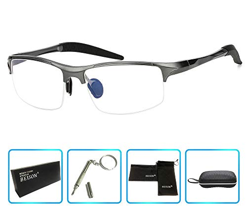 - Beison Sports Optical Eyeglasses Frame Plain Glasses Clear Lens Rx (Gun metal, 58)