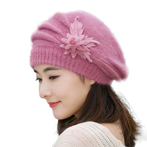 [YIWULA Fashion Womens Flower Knit Crochet Beanie Hat Winter Warm Cap (Purple)] (Hip Hop Felt Hat With Feather)