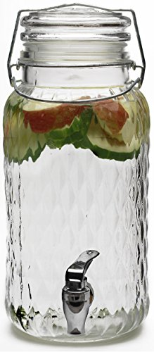 Circleware 69117 Treasure Drink Dispenser, 1 gallon, Clear (Glass 1 Dispenser Beverage Gallon)
