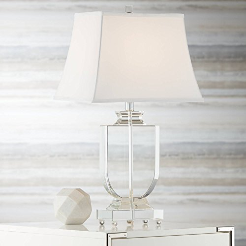 Tilde Traditional Table Lamp Clear Crystal Urn Tapered Rectangular White Shade for Living Room Bedroom Bedside Nightstand Office Family - Vienna Full Spectrum (Base Crystal Tapered)