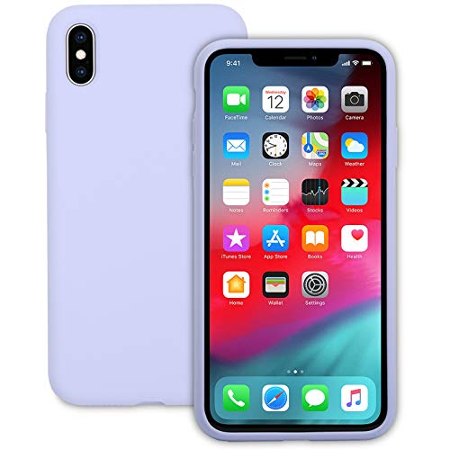 IVSUN Case for iPhone Xs Max 6.5-Inch Liquid Silicone 360 Full Protection Rubber Gel Cover Slim [ Anti-Fingerprint ] [ Scratch-Resistance ] [ Smooth Touch Feeling ] - - Iphone Lavender Purple