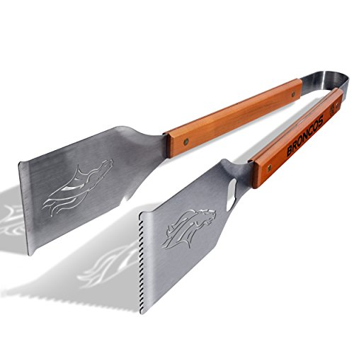 NFL Denver Broncos Grill-A-Tongs, Heavy Duty Stainless Steel BBQ Grill Tongs