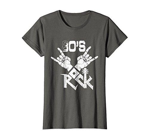 (Womens 80s Rock Faded T-Shirt Vintage Concert Band Tee Large Asphalt)