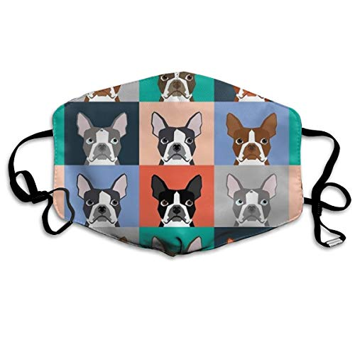 (ORASYA Adjustable Comfortable Boston Terriers Tile Bulldog Dog Set Pattern Ear Loop Mouth Masks Safety Polyester Face Mask Dust Proof Washable Reusable Half Face Masks for Cycling)