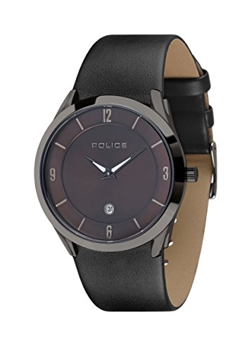Police Women Watch TARGET II PL.14217JSU/12 Drak Brown Dial Black Leather Strap 41 mm
