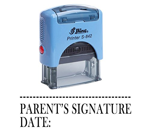 PARENT'S SIGNATURE DATE Shiny Self Inking Rubber Stamp Office Stationary (Signature Date Stamp)