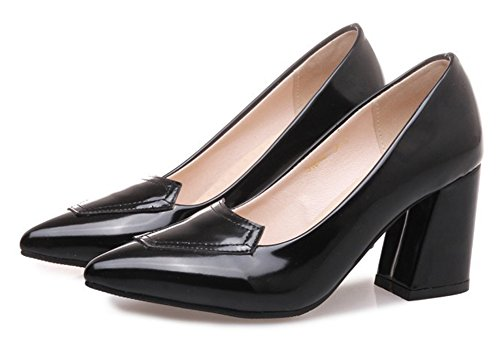 Aisun Moda Donna Punta A Punta Brunito Taglio Basso Dressy Wear To Work Slip On High Block Heel Pumps Shoes Black