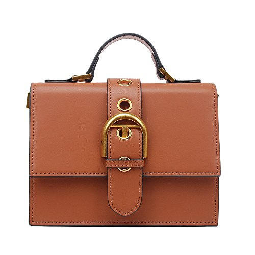 Shoulder Handbag Belt Retro Pu Large Everyday Suitable Simple Bag Capacity Buckle Asdflina Brown Use Square For W84qvnt0