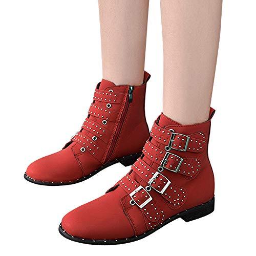 Bottines Magiyard En Fermeture Unie Femmes Cheville Éclair La Bottes Couleur À Les Courtes Chaussures Daim Rouge ArnAOwqvET
