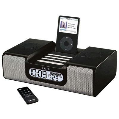 iHome iH8 Clock Radio for iPod (Black) by Sound Design