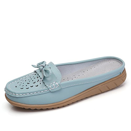 VILOCY Women's Hollow Leather Backless Lazy Loafers Flats Slip On Mules Shoes Walking Slipper Blue,39
