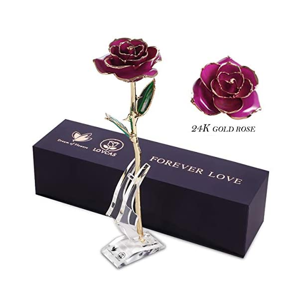 Gold Dipped Rose, 24k Gold Purple Rose Flower with Long Stem Rose and Crystal Stand, Rose Flower Gifts for Anniversary, Birthday, Valentine's Day, Wedding