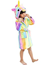Kids Soft Bathrobe Unicorn Fleece Sleepwear Comfortable Loungewear