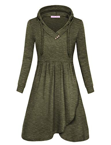 JOYMOM Asymmetrical Dresses for Women,Misses V Collar Drawstring Sweatshirt Dress Juniors Solid Color Trapeze Flattering and Cute Outfit House Wear Space Dye Army Green Medium for $<!--$27.99-->