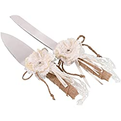 Lillian Rose Rustic Country Burlap Wedding Cake Knife Server