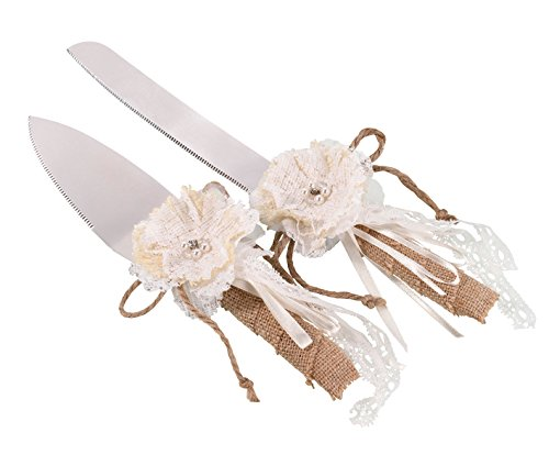 Lillian Rose Rustic Country Burlap Wedding Cake Knife Server]()