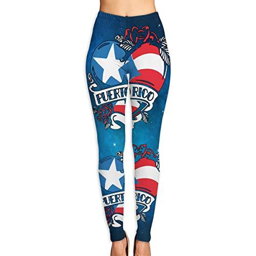 Moulton Virginia Puerto Rico Tattoo Heart Flag Women's Slim Workout Full Length Yoga Pant Skinny Leggings Pants M