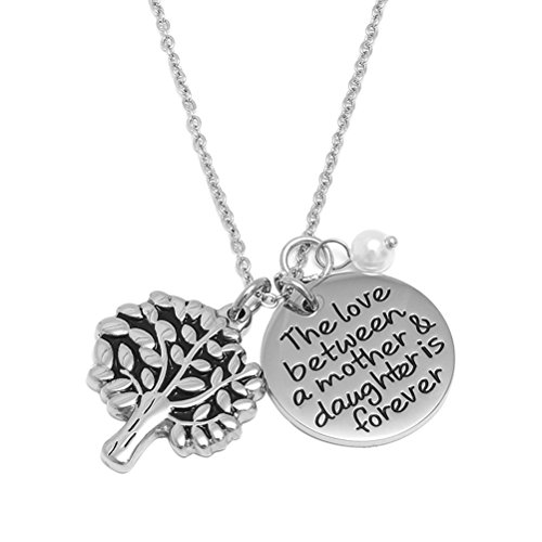 BESTOYARD Tree of Life Pendant Necklace Mother's Day Jewelry Gift Engraved Words Round Pendant Charm Necklace (The Love Between A Mother & Daughter is Forever)