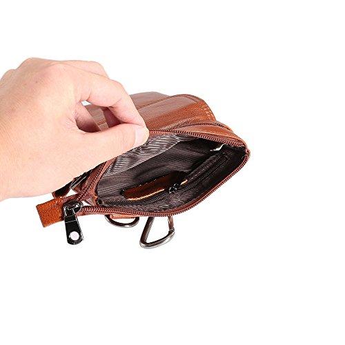 de de smartphone del todos la de la gancho bolsa universal celular Monedero cuero de auténtico real caja Loop los Clip Correa con correa Funda bolsa teléfono Tamaño vertical mensajero Brown tel para Paquete I4F7ZPqwxq
