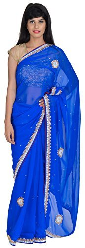 tanishq-designers-womens-georgette-saree-blue