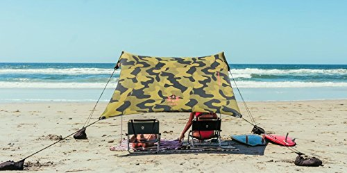 Neso Tents Beach Tent with Sand Anchor, Portable Canopy SunShade - 7' x 7' - Patented Reinforced (Camouflage Canopy)