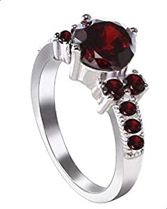 Women's ring with red zircon size 6