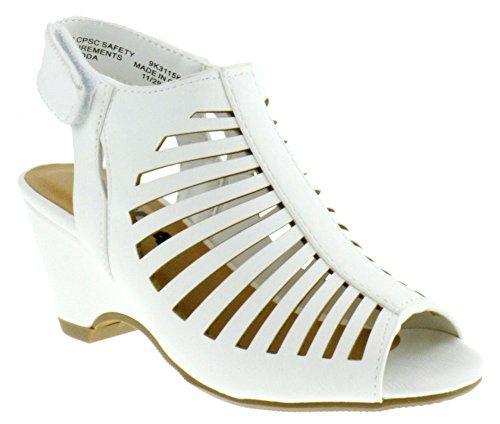 Out Toe Peep Shoes Cut (Sod Shake Iih Little Girls Cut Out Heeled Peep Toe Sandals White Nubuck 2)