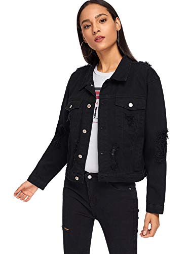 Floerns Women's Ripped Distressed Casual Long Sleeve Denim Jacket Black M (Jacket Black Casual Women)