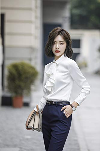 Rojeam Slim Traje Trabajo Conjunto Fit Blazer La Chaleco De Pantalón Camisa Mujer Trajes blanco Falda Oficina Negocios Camisa rq4SIwBr