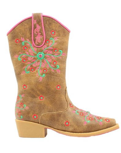 Price comparison product image Blazin Roxx Girls' Savvy Embroidered Cowgirl Boot Snip Toe Brown 3.5 D(M) US
