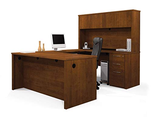 Bestar U-Shaped Desk with Assembled Pedestal and Hutch - Embassy