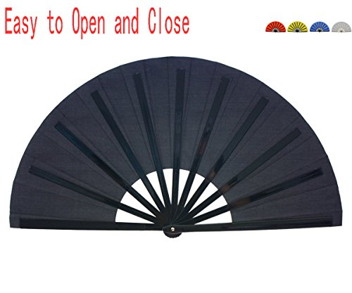 Folding Fan Chinese Hand Fan HONSHEN Performance Fan Nylon-Cloth Fan 13 inch (Black)