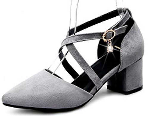Strap Toe With Sexy Pendant Pointy Gray Cross Womens Easemax Pumps tRgXqwSRx