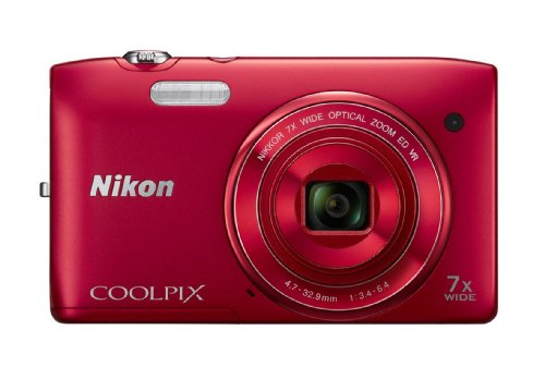 Nikon COOLPIX S3500 20.1 MP Digital Camera with 7x Zoom (Red) (OLD MODEL) - New Model Cipa